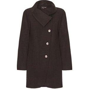 De La Creme  Black Womens Assymetic 3/4 Coat With Multi Buttons  Women's Coat In Black. Si, Black