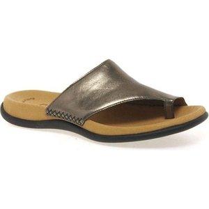 Gabor  Lanzarote Toe Loop Womens Mules  Women's Flip Flops / Sandals (shoes) In Silver. Si, Silver