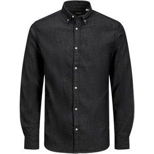 Jack   Jones  Jjileon 12165012  Men's Long Sleeved Shirt In Black. Sizes Available:eu S,eu, Black