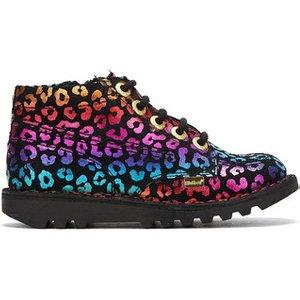 Kickers  Kick Hi Leopard Junior Black / Multi Boots  Men's Mid Boots In Black. Sizes Avail, Black