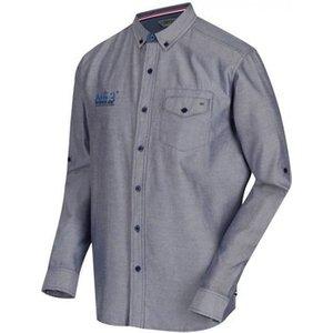 Regatta  Benan Long Sleeve Coolweave Oxford Shirt Navy Blue  Men's Long Sleeved Shirt In B, Blue