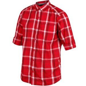 Regatta  Mindano Checked Long Sleeve Shirt Oxford Blue Red  Men's Short Sleeved Shirt In R, Red