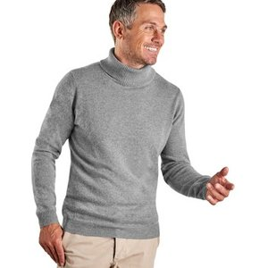 Woolovers  Cashmere And Merino Polo Neck Jumper  Men's Sweater In Grey. Sizes Available:uk, Grey