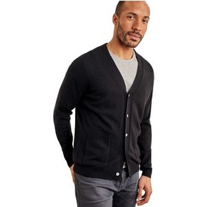Woolovers  Cashmere And Merino V Neck Cardigan  Men's  In Black. Sizes Available:uk S,uk M, Black
