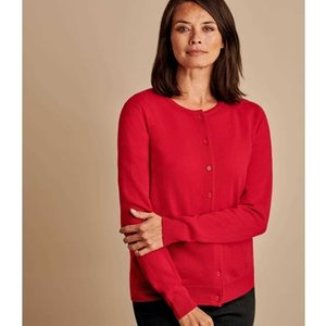 Woolovers  Cashmere Merino Classic Crew Neck Cardigan  Women's  In Red. Sizes Available:uk, Red