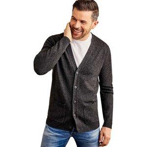 Woolovers  Lambswool V Neck Cardigan  Men's  In Grey. Sizes Available:uk S,uk M,uk L,uk Xl, Grey