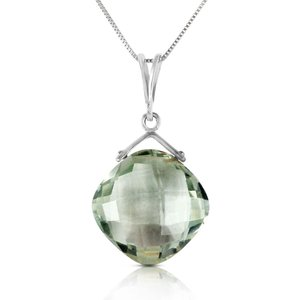 Qp Jewellers Green Amethyst Cushion Pendant Necklace 8.75 Ct In 9ct White Gold 3862w Womens Jewellery