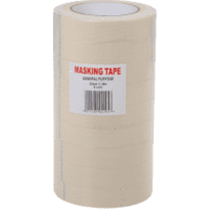 Value Masking Tape 25mm X 50m - White (9 Pack) 11757ry Office Supplies