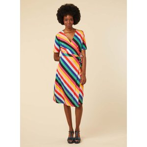 Joanie Dent Colourful Stripe Wrap Dress - Vintage Style 11039 Womens Clothing