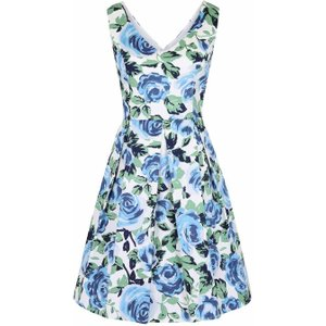 Joanie Hysteria Blue Floral Print Dress - Vintage Style 7702 Womens Clothing