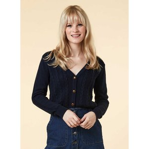 Joanie Linda Cable Knit Cardigan - Navy - Vintage Style 10106 Womens Clothing