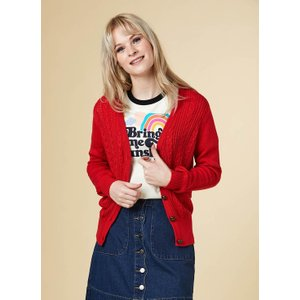 Joanie Linda Cable Knit Cardigan - Red - Vintage Style 11336 Womens Clothing
