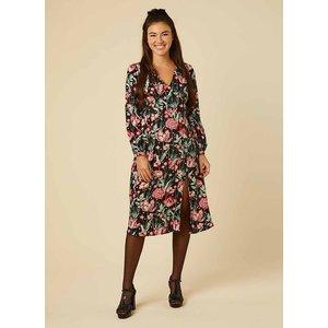 Joanie Lucid Dark Floral Star Print Midi Dress - Vintage Style 10666 Womens Clothing