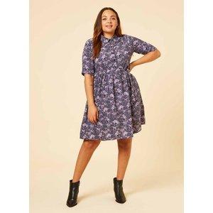 Joanie Martha Purple Dinosaur Print Shirt Dress - Vintage Style 10697 Womens Clothing
