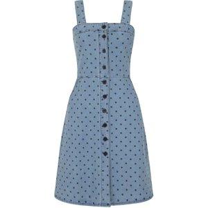 Joanie Tamara Button Denim Pinafore Dress - Polka Dot - Vintage Style 10201 Womens Clothing