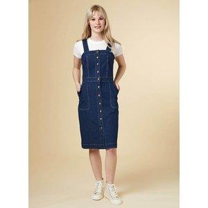 Joanie Tara Button Denim Pinafore Dress - Vintage Style 5208 Womens Clothing