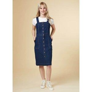 Joanie Tara Button Denim Pinafore Dress - Vintage Style 5206 Womens Clothing
