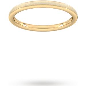 Goldsmiths 2mm Traditional Court Standard Matt Centre With Grooves W ... Wel2 Cut 6 Womens Jewellery