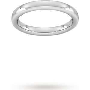 Goldsmiths 3mm Slight Court Extra Heavy Wedding Ring In 18 Carat White Gold - Ring Size Q Wbh3 Womens Jewellery