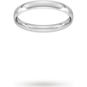 Goldsmiths 3mm Traditional Court Standard Wedding Ring In 950 Palladium- Ring Size X Wel3 Womens Jewellery