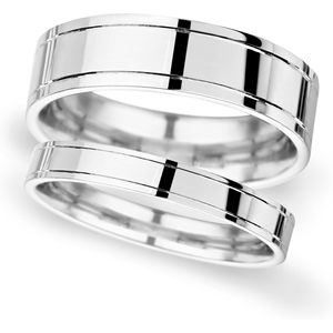 Goldsmiths 4mm D Shape Standard Polished Finish With Grooves Wedding Ring In 950 Palladium Wdl4 Cut 23 Womens Jewellery