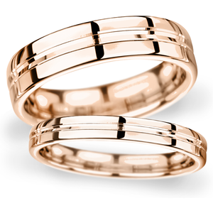 Goldsmiths 4mm Flat Court Heavy Grooved Polished Finish Wedding Ring In 18 Carat Rose Gold Wgm4 Cut 21 Womens Jewellery