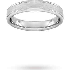 Goldsmiths 4mm Slight Court Heavy Matt Centre With Grooves Wedding Ring In Platinum Wbm4 Cut 6 Womens Jewellery