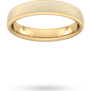 Goldsmiths 4mm Slight Court Heavy Matt Finished Wedding Ring In 9 Carat Yellow Gold Wbm4 Cut 24 Womens Jewellery