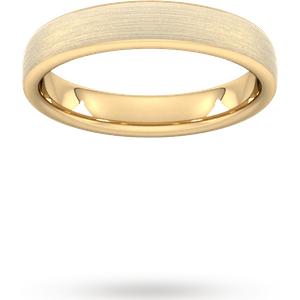 Goldsmiths 4mm Traditional Court Heavy Matt Finished Wedding Ring In 18 Carat Yellow Gold Wem4 Cut 24 Womens Jewellery