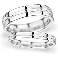 Goldsmiths 5mm D Shape Heavy Grooved Polished Finish Wedding Ring In 9 Carat White Gold Wdm5 Cut 21 Womens Jewellery