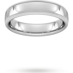 Goldsmiths 5mm Flat Court Heavy Milgrain Edge Wedding Ring In Platinum Wgm5 Cut 3 Womens Jewellery