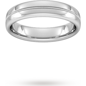 Goldsmiths 5mm Slight Court Standard Milgrain Centre Wedding Ring In Platinum Wbl5 Cut 1 Womens Jewellery