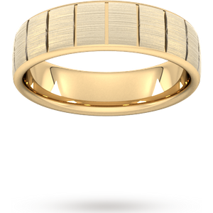 Goldsmiths 5mm Traditional Court Heavy Vertical Lines Wedding Ring In 9 Carat Yellow Gold Wem5 Cut 39 Womens Jewellery