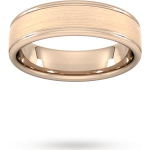 Goldsmiths 6mm D Shape Standard Matt Centre With Grooves Wedding Ring In 9 Carat Rose Gold Wdl6 Cut 6 Womens Jewellery