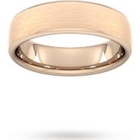 Goldsmiths 6mm D Shape Standard Matt Finished Wedding Ring In 18 Carat Rose Gold Wdl6 Cut 24 Womens Jewellery
