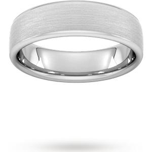 Goldsmiths 6mm Slight Court Heavy Matt Finished Wedding Ring In 9 Carat White Gold Wbm6 Cut 24 Womens Jewellery