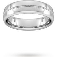 Goldsmiths 6mm Slight Court Heavy Milgrain Centre Wedding Ring In Platinum Wbm6 Cut 1 Womens Jewellery