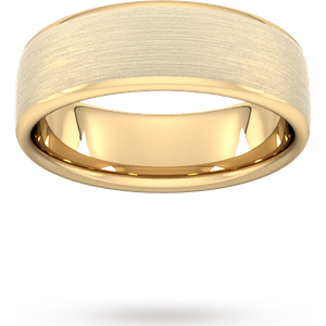 Goldsmiths 7mm Flat Court Heavy Matt Finished Wedding Ring In 18 Carat Yellow Gold Wgm7 Cut 24 Womens Jewellery