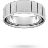 Goldsmiths 7mm Slight Court Extra Heavy Vertical Lines Wedding Ring ... Wbh7 Cut 39 Womens Jewellery