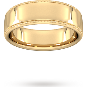 Goldsmiths 7mm Slight Court Standard Milgrain Edge Wedding Ring In 18 Carat Yellow Gold Wbl7 Cut 3 Womens Jewellery
