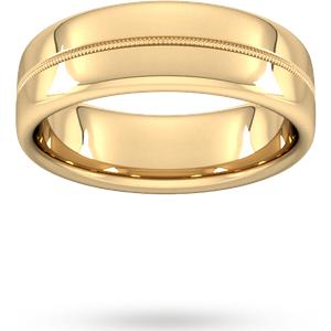 Goldsmiths 7mm Traditional Court Heavy Milgrain Centre Wedding Ring In 18 Carat Yellow Gold Wem7 Cut 1 Womens Jewellery