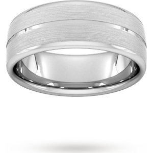 Goldsmiths 8mm D Shape Standard Centre Groove With Chamfered Edge Wedding Ring In Platinum Wdl8 Cut 25 Womens Jewellery