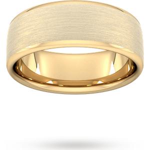 Goldsmiths 8mm Slight Court Heavy Matt Finished Wedding Ring In 9 Carat Yellow Gold Wbm8 Cut 24 Womens Jewellery
