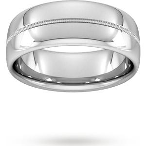 Goldsmiths 8mm Slight Court Heavy Milgrain Centre Wedding Ring In Platinum Wbm8 Cut 1 Womens Jewellery