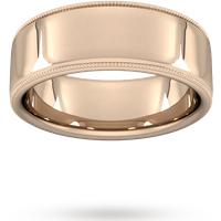 Goldsmiths 8mm Traditional Court Standard Milgrain Edge Wedding Ring In 9 Carat Rose Gold Wel8 Cut 3 Womens Jewellery