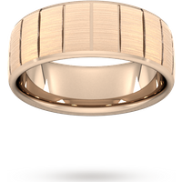 Goldsmiths 8mm Traditional Court Standard Vertical Lines Wedding Ring In 18 Carat Rose Gold Wel8 Cut 39 Womens Jewellery