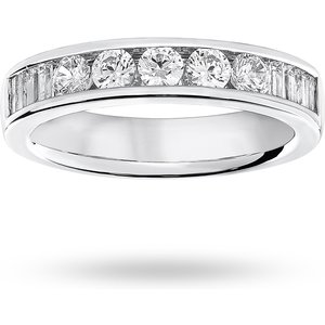 Goldsmiths 9 Carat White Gold 0.75 Carat Brilliant Cut And Baguette ... M06504854 Womens Jewellery