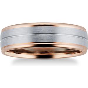 Goldsmiths 9ct Rose Gold & Palladium Wedding Ring - Ring Size T M08170065 Womens Jewellery