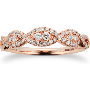 Goldsmiths 9ct Rose Gold 0.33ct Diamond Wrap Dress Ring M06070898 Womens Jewellery