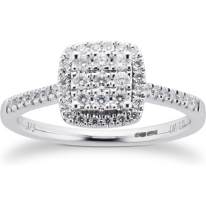 Goldsmiths 9ct White Gold Diamond Multi Stone Halo Cushion Cut Ring - Ring Size N M06016633 Womens Jewellery